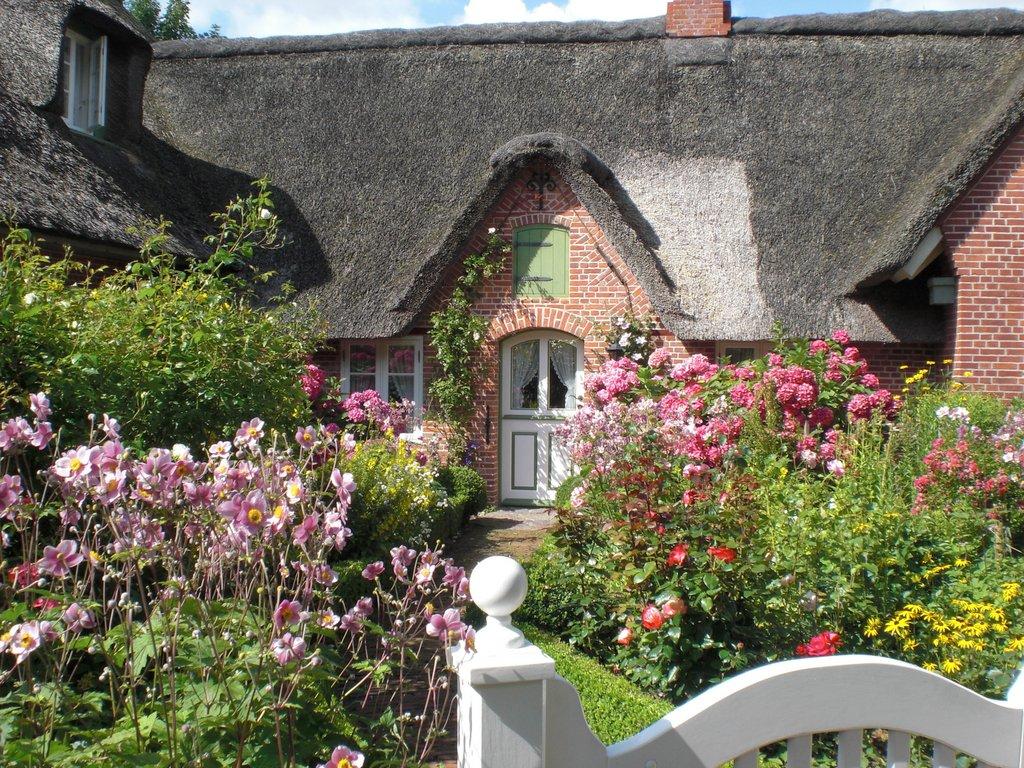 Pensionen St. Peter-Ording: Foto Bauerngarten mit Reetdachhaus